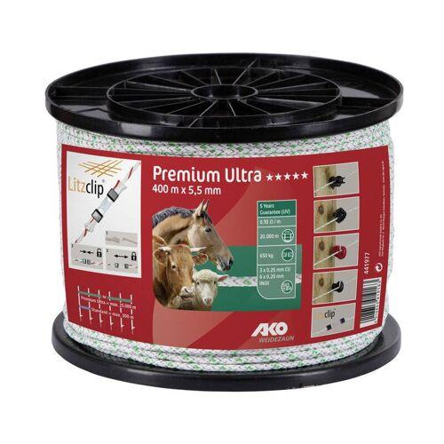 AKO Weidezaunseil Premium Ultra Seil, 5,5 mm, 400 m weiß/grün