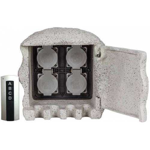 Heitronic Funksteckdosen Stein mit 4 Steckdosen