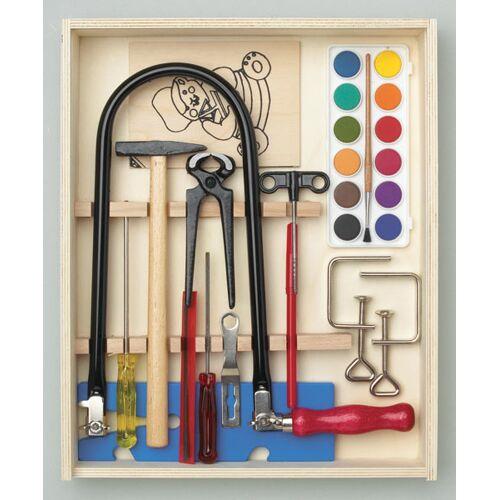 Pebaro Laubsäge Set 16 tlg., Holzkiste gefüllt mit Werkzeug + Arbeitsplatte