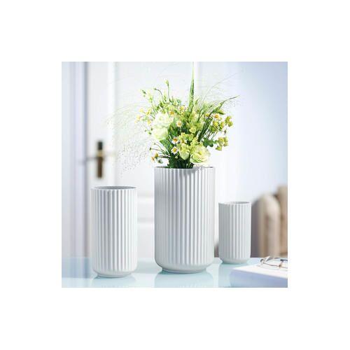 Rosendahl Lyngby Porzellan Vase, handgemachtes Porzellan, 20 cm H, 10 cm Durchmesser, Weiß