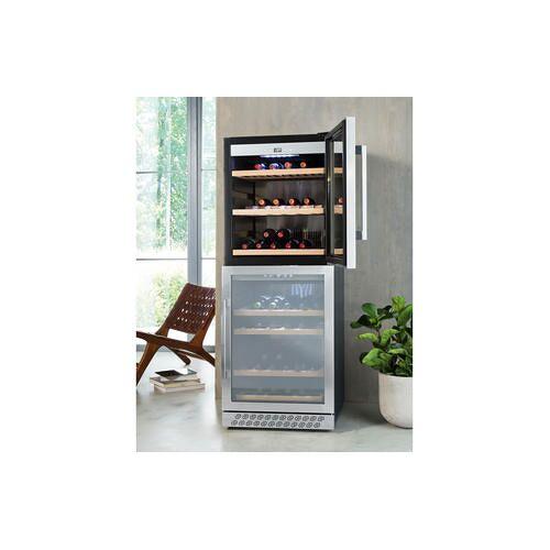 Caso EEK: G(A-G_NEU) - Caso WineChef Pro 126-2D, Weinkühlschrank, smart per App, Weintemperierschrank für bis zu 126 Flaschen, 2 Temperaturzonen