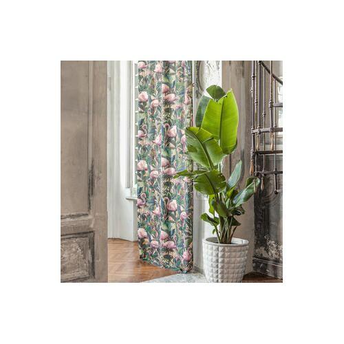 Vorhang Flamingo Botanico - 1 Stück, 130 x 260 cm - Rosa/Grün