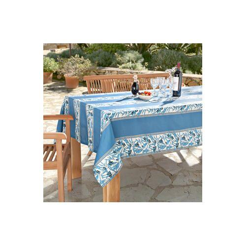 Vent du Sud Abwaschbare Oliven Tischwäsche, 160 x 160 cm, Blau/Weiß