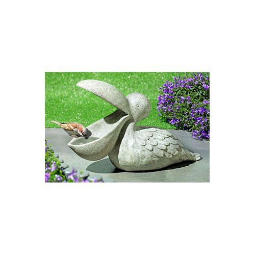 Pelikan Vogeltränke Pelikan, Tränke, Futterstelle oder Vogelbad, Granitoptik, wetterfest, Polystone
