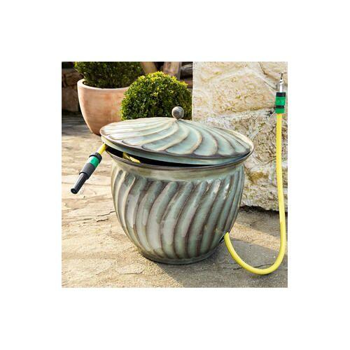 Schlauchkübel, Gartenschlauch Aufbewahrung, 49 cm Ø, Eisen Patina