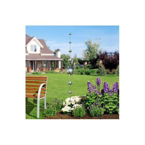 Gartenkugeln-Stab, Gartendeko, wetterfest, UV-stabil, 200 cm, Edelstahl