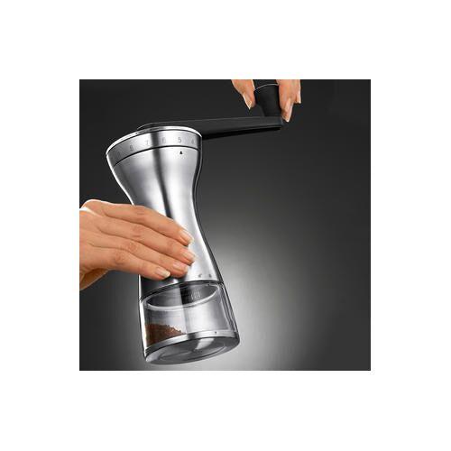 Zassenhaus 18-Stufen-Hand-Kaffeemühle, manuelle Kaffeemühle mit 18 Feineinstellungen, 70g Bohnendepot, Handmühle, mattiertem Edelstahl und Kunststoff