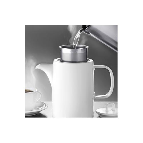ASA Porzellan Kaffeekanne Muga, 1 l, weiß, Edelstahlfilter