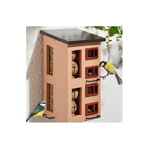 Wildlife Garden Dreifach-Futterspender, Vogelfutterhaus, Holz, 34 x 18 x 19 cm, rot