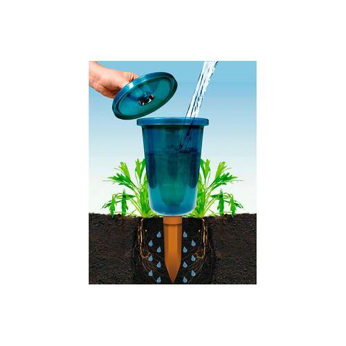 Bio Green GmbH & Co. KG Hydro Cup Bewässerungshilfe, 4er-Set, Pflanzen-Bewässerungssystem, semitransparenten Kunststoffbehälter, blau/grün, BioGreen