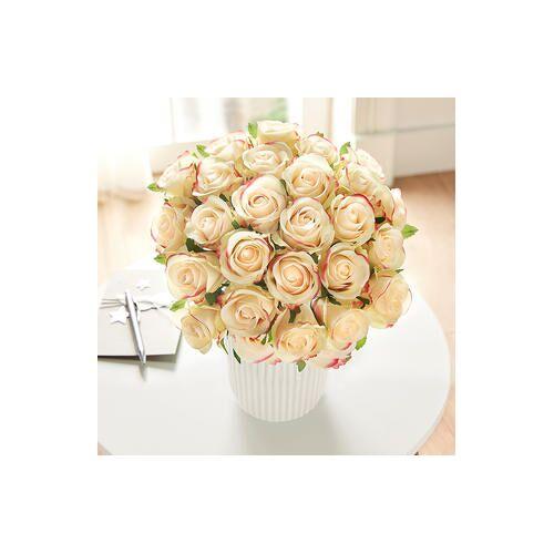 Gasper Textil Kunstblumen Rosenstrauß, 25 Blüten Bouquet , Ø 30cm, pastell gelb