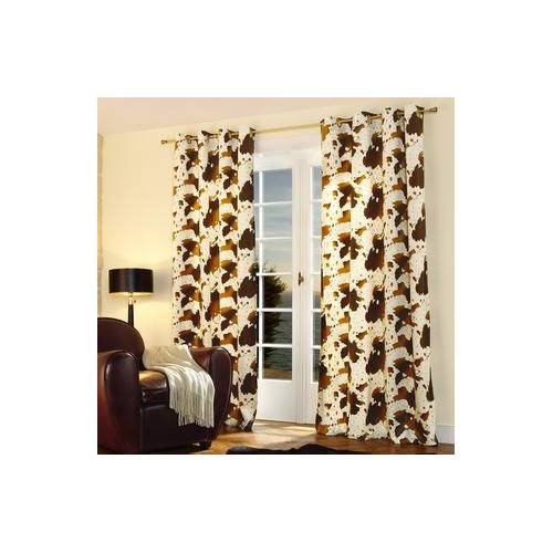Vorhang Cow - 1 Stück, 142 x 245 cm - Braun/Creme