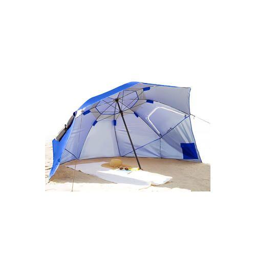 Beach-Brella, Sonnendach, Regen- und Windschutz, Sonnenschirm, Transport-Schultertasche, Sonnenschutzfaktor 50+, UV-Schutz, blau