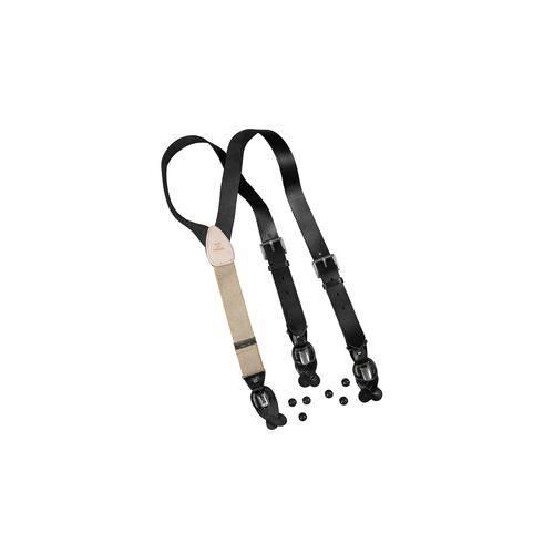 Regent Belt Leder-Hosenträger, Schwarz