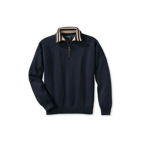 Wetter-Pullover, Kontrastkragen Streifen, 52/54 - Navy