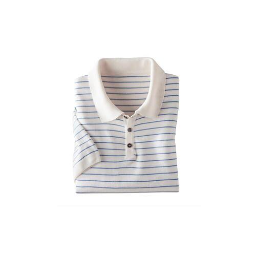 Tencel™-Leinen-Poloshirt, 52 - Weiß/Blau