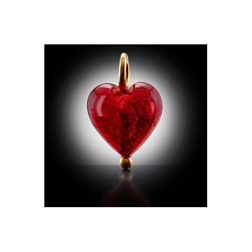 Menard Muranoglas Herz-Anhänger, rot/gold