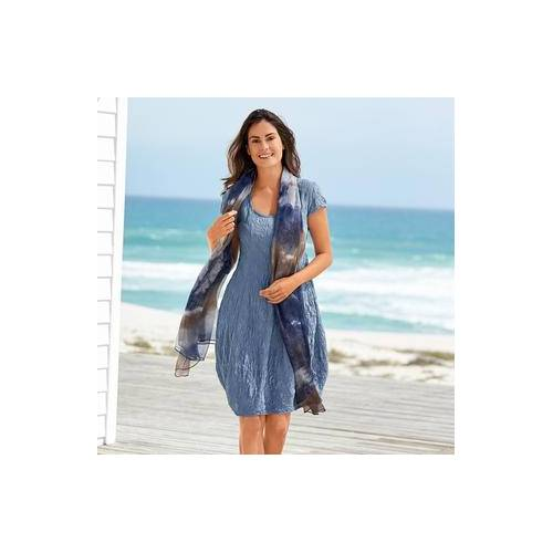 Seidencrash-Sommerkleid, 44 - Bleu