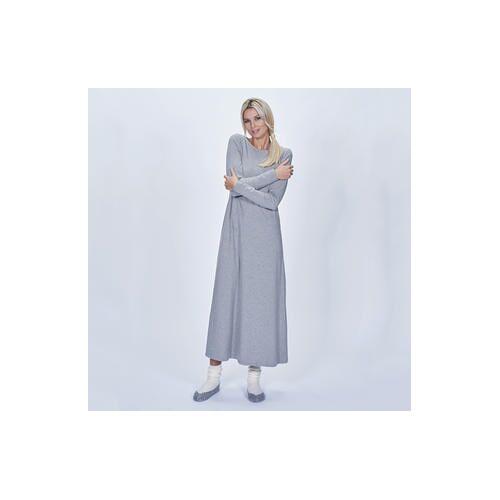 Cornelie Weiss Maxi-Shirtkleid, Longshirt oder Sweatpants, 38 - Grau - Maxi-Shirtkleid