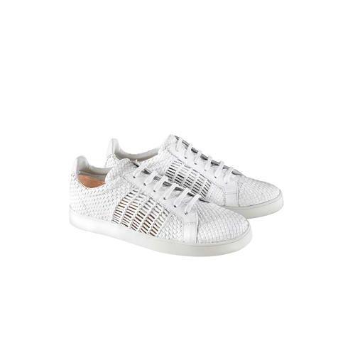 Allan K Flechtleder-Sneaker, 38 - Weiß