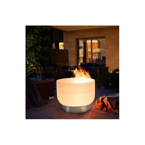 QFlame Design Feuerschale S aus Glas, inkl. Zubehör, QBase-Untergestell und QLid-Deckel aus Edelstahl, 56 cm