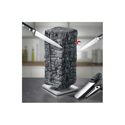 Cuttworxs Magnetischer Messerblock Pyrolith, Neodym-Magnete, 360° drehbar, Ascheoptik