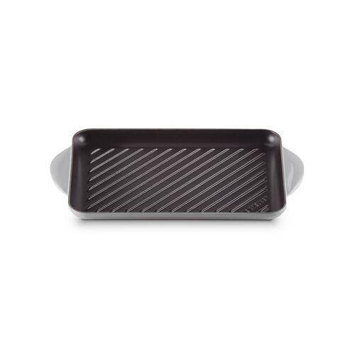 LE CREUSET Rechteckiger Grill aus Gusseisen 32 x 22 cm Mist Grey