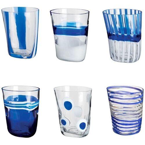 CARLO MORETTI Murano Kristallglas Bora Set 6 Stück Blau