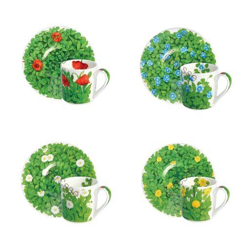 TAITÙ Kaffeetassen Wiese und Blumen Mix 4 Stücke