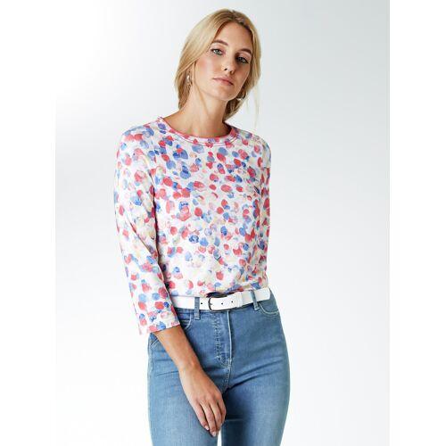 Walbusch Damen Shirt Aquarelltupfen gemustert Blau/Koralle 40