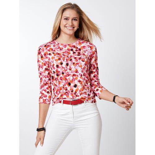 Walbusch Damen Shirt Aquarelltupfen gemustert Orange/Pink 52
