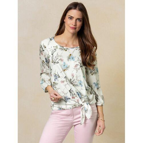 Walbusch Damen Shirtbluse mit Knoten in normalen Größen gemustert Weiß 36 - Kurzarm