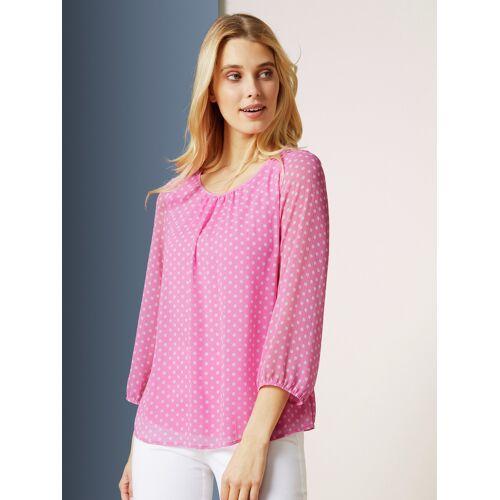 Walbusch Damen Shirtbluse 2-in- Plus Punkt in normalen Größen bedruckt Rose 38 - Kurzarm