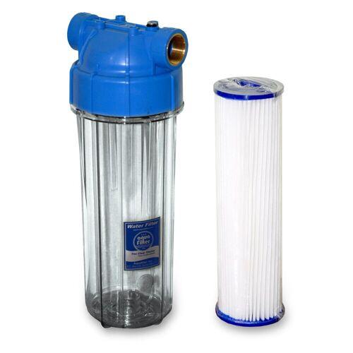 N.N. 10x2,5 Zoll Wasserfiltergehäuseset 3/4 Zoll IG + 10 µm Polyesterfilter, 3-5x verwendbar