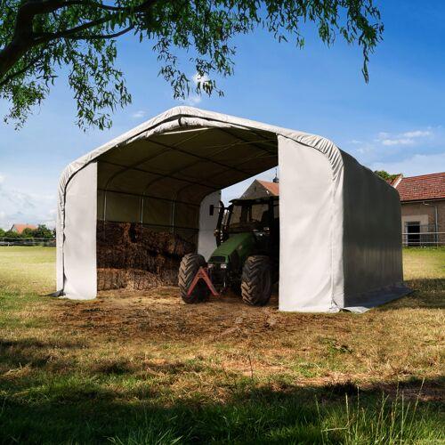 TOOLPORT Weidezelt 6x6m PVC 550 g/m² grau wasserdicht