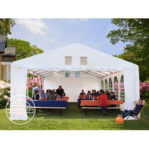 TOOLPORT Partyzelt 8x8m PVC 550 g/m² weiß wasserdicht Gartenzelt, Festzelt, Pavillon