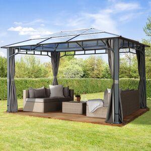 TOOLPORT Gartenpavillon 3x4m Polycarbonat-Platten 8 mm loft grey wasserdicht