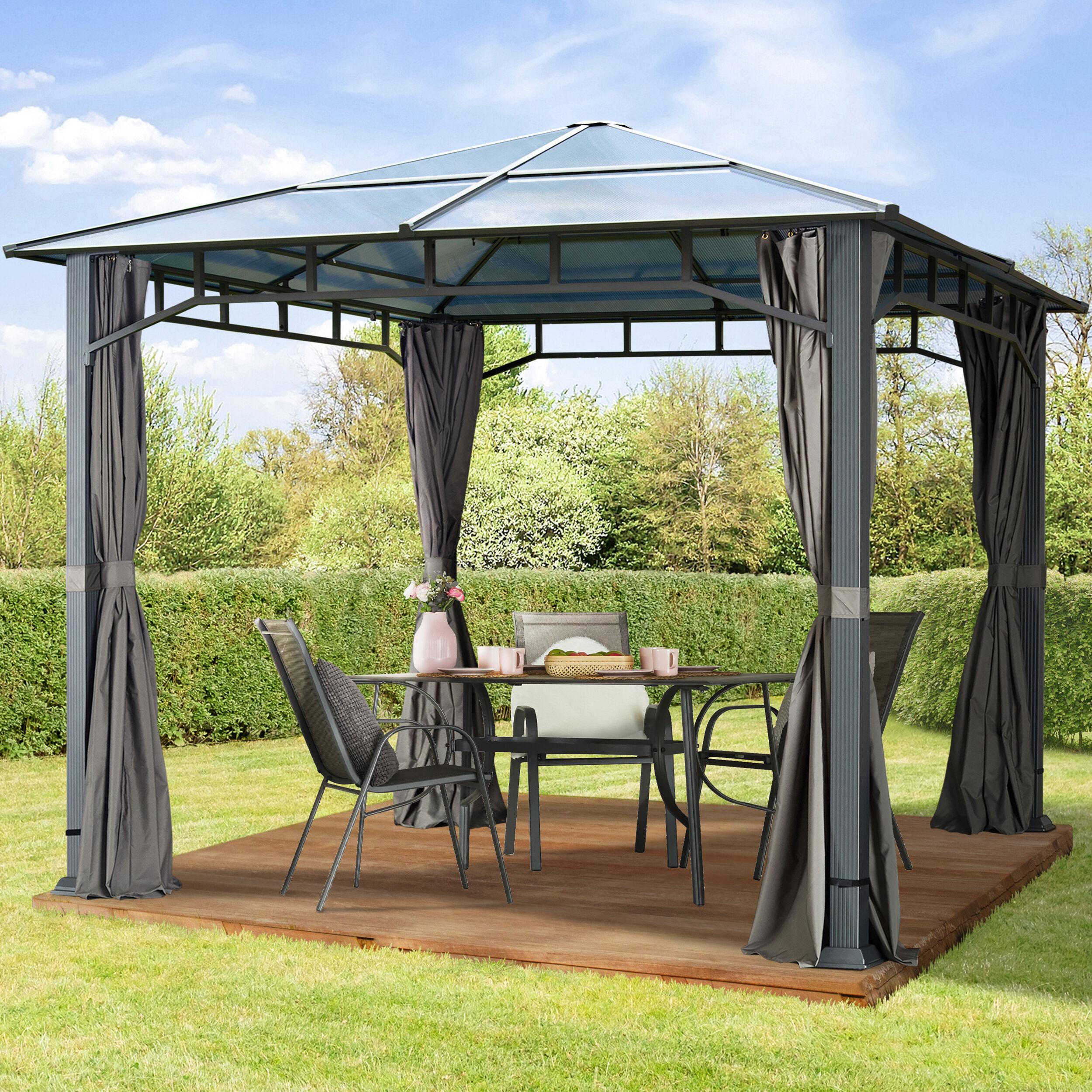TOOLPORT Gartenpavillon 3x3m Polycarbonat-Platten 8 mm loft grey wasserdicht