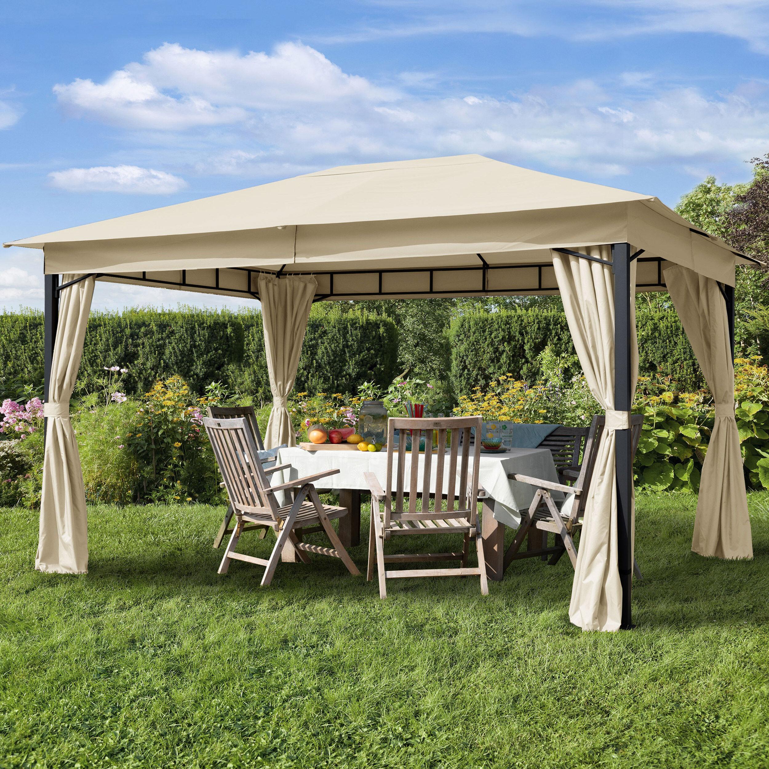 TOOLPORT Gartenpavillon 3x4m Polyester mit PU-Beschichtung 180 g/m² champagnerfarben wasserdicht