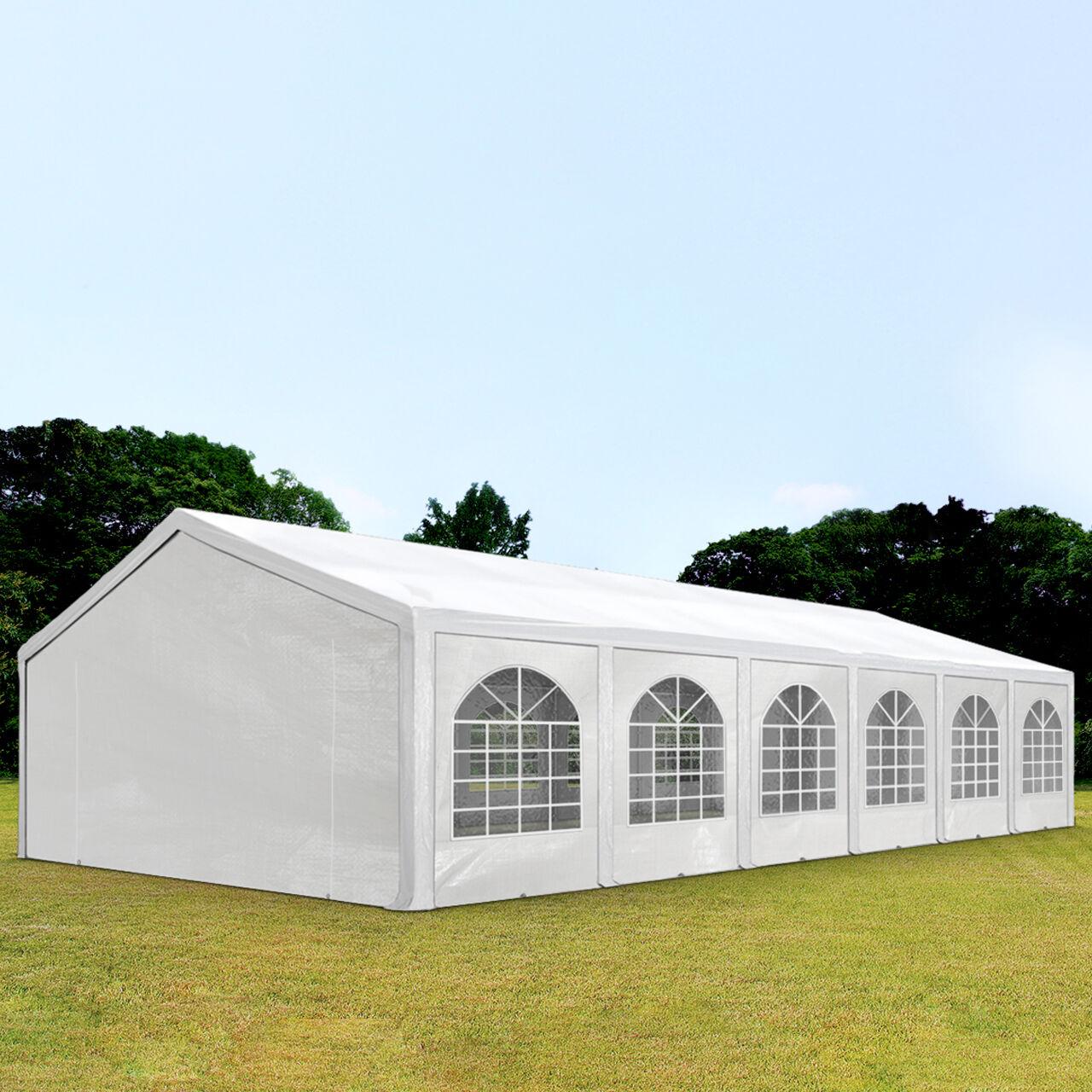 TOOLPORT Partyzelt 6x12m PE 240g/m² weiß wasserdicht Gartenzelt, Festzelt, Pavillon