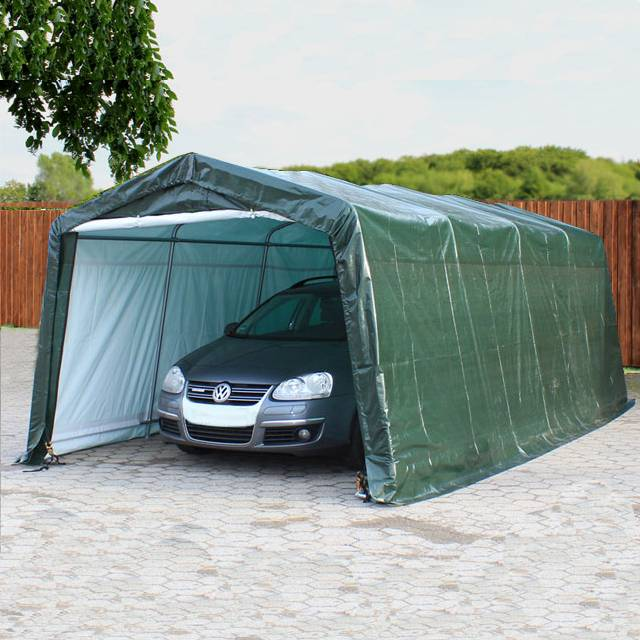 Profizelt24 Zeltgarage 3,3x6,0m PE 260 g/m² dunkelgrün wasserdicht Garagenzelt, Weidezelt