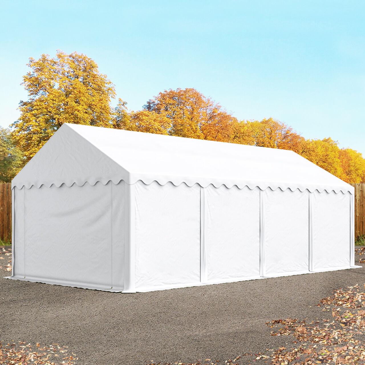TOOLPORT Lagerzelt 4x8m PVC 550 g/m² weiß wasserdicht Unterstand, Lager