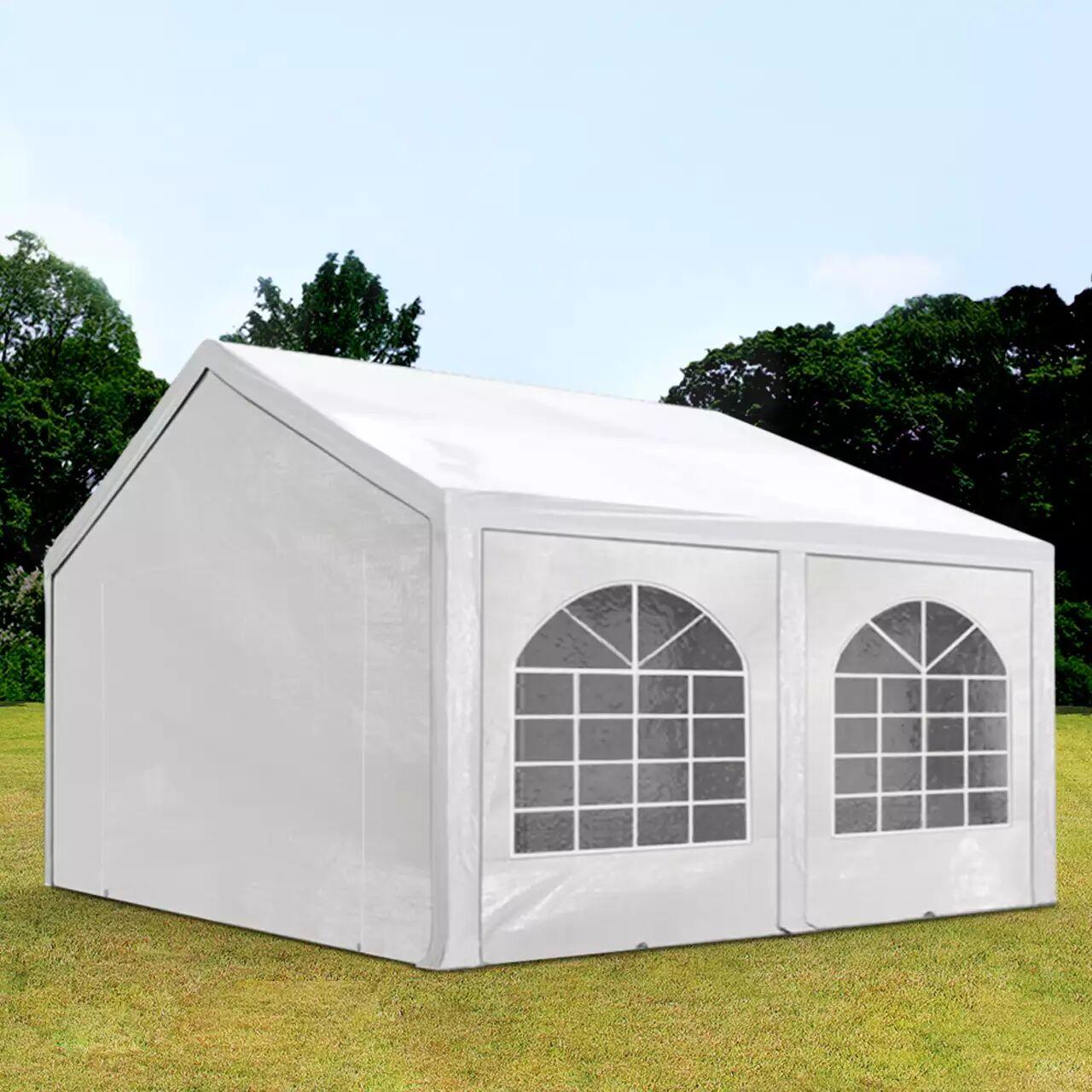 TOOLPORT Partyzelt 3x5m PE 240g/m² weiß wasserdicht Gartenzelt, Festzelt, Pavillon