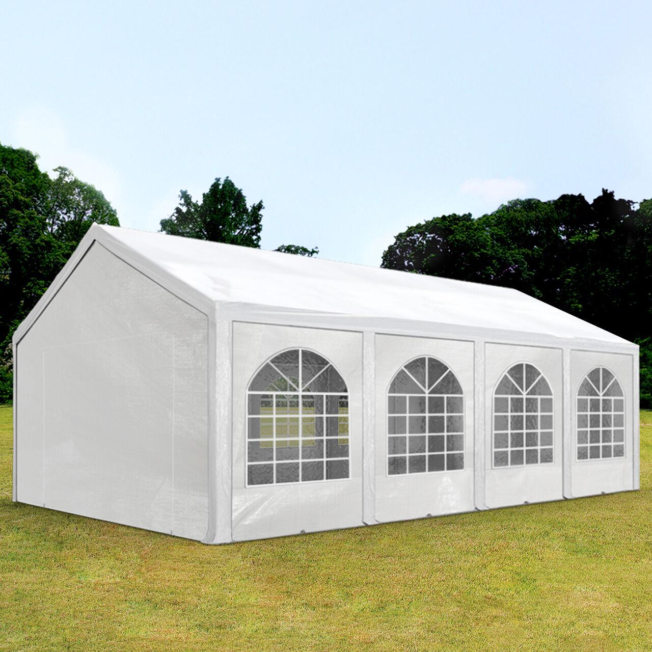 Profizelt24 Partyzelt 4x8m PE 240g/m² weiß wasserdicht Gartenzelt, Festzelt, Pavillon