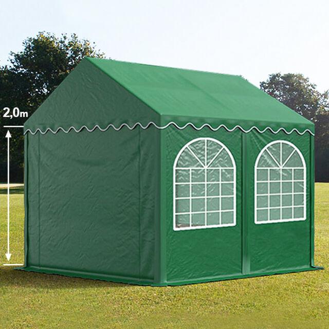 TOOLPORT Partyzelt 3x4m PVC 550 g/m² dunkelgrün wasserdicht Gartenzelt, Festzelt, Pavillon