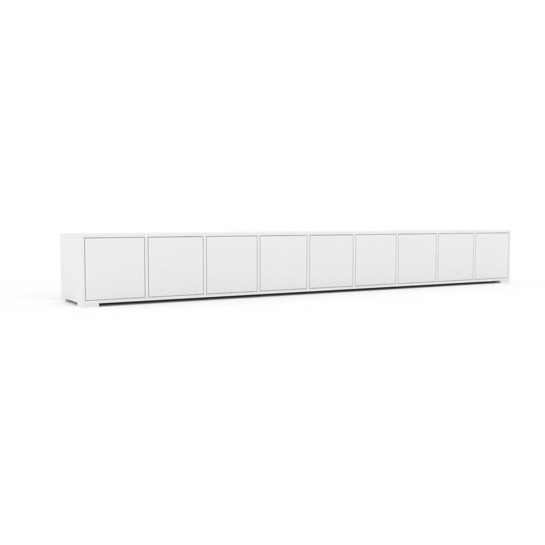 MYCS Bücherregal Weiß - Modernes Regal für Bücher: Türen in Weiß - 349 x 43 x 47 cm, Individuell konfigurierbar