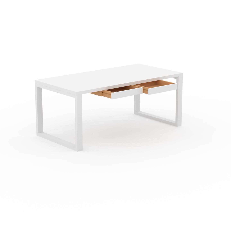 MYCS Schreibtisch Massivholz Weiß - Moderner Massivholz-Schreibtisch: mit 2 Schublade/n - Hochwertige Materialien - 180 x 75 x 90 cm, konfigurierbar