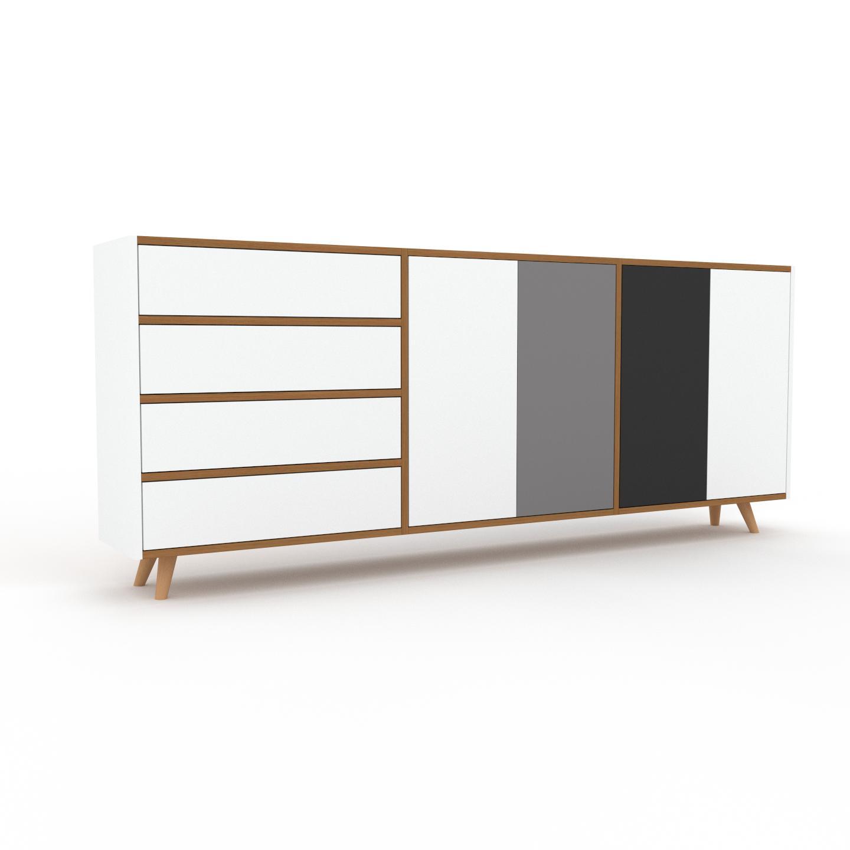 MYCS Sideboard Weiß - Sideboard: Schubladen in Weiß & Türen in Weiß - Hochwertige Materialien - 226 x 91 x 35 cm, konfigurierbar