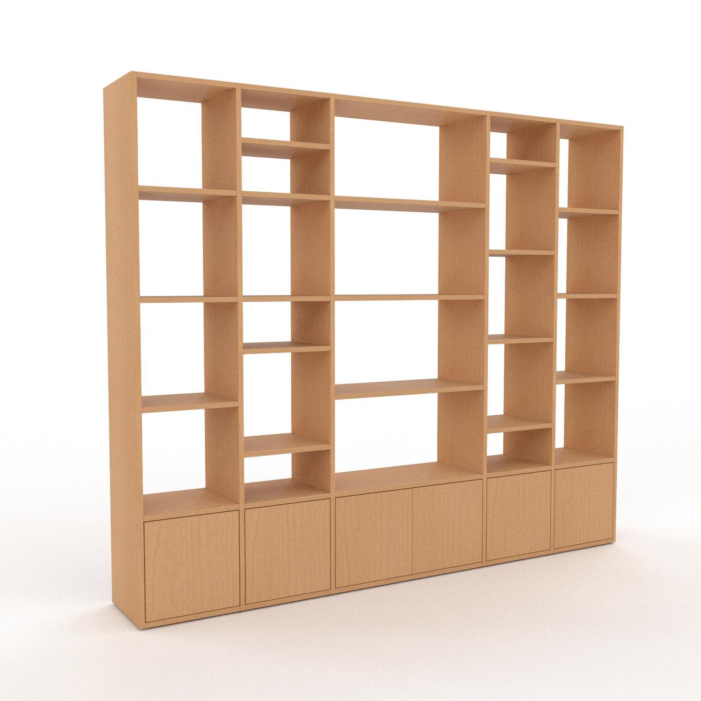 MYCS Bücherregal Buche - Modernes Regal für Bücher: Türen in Buche - 231 x 195 x 35 cm, Individuell konfigurierbar