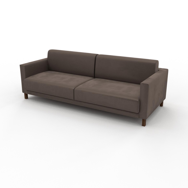 MYCS Sofa Samt Taupegrau - Moderne Designer-Couch: Hochwertige Qualität, einzigartiges Design - 224 x 75 x 98 cm, Komplett anpassbar